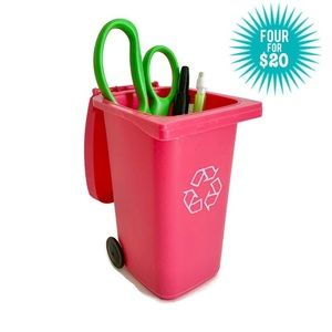 Other - Tiny Pink Recycling Bin Pencil Cup Brush Holder